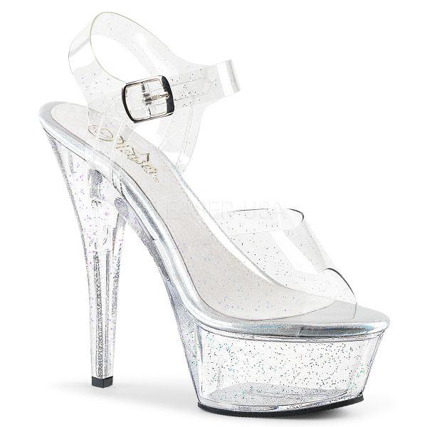 Durchsichtige Sandalette mit buntem Glitter KISS-208MMG
